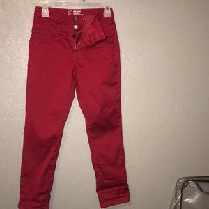 Red Mid Rise Skinny